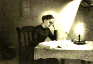 Mary Baker Eddy studying